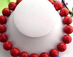 "قلادة 17 ""20MM NATURE ROUND RED CORAL حبة قلادة"