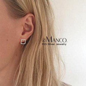 E-Manco Simples Oco Out Quadrilateral Brinco 925 Brinco De Prata Esterlina Elegante Minimalista Brincos Geométricos