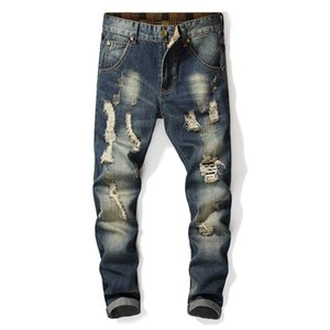 mens designer fashion Jeans holes straight slim scratches nostalgic washed trousers