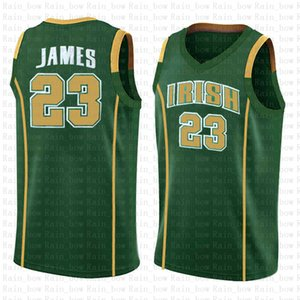 Blanco 23 LeBron Irish College High School Baloncesto Jersey James baloncesto de la universidad de New NCAA