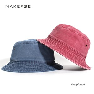 2020 cowboy fisherman casual flat top washed old Harajuku solid color basin hat adult