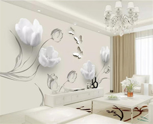 Gewohnheit Irgendeine Größe 3D Tapete Mode Einfache Tulip Butterfly 3D Wohnzimmer Schlafzimmer Hintergrund Wanddekoration Tapete
