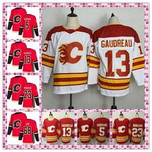 Erkekler Calgary Flames Formalar 5 Mark Giordano 13 Johnny Gaudreau 23 Sean Monahan En İyi Kalite Nakış Logolar Hokeyi Jersey