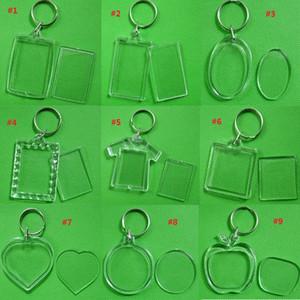 Atacado DIY em branco Acrílico photo chaveiros em forma Chains Limpar tecla Insert Foto plástico Keyrings Pendant frete grátis