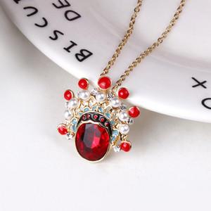 Nuovo stile cinese Opera di Pechino maschera collana Art Crystal Red Knife Ma Dan creativo signore retrò ciondolo gioielli