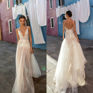 2019 Seksi Gelinlik Kılıf V Yaka Tül Dantel Yan Yarık Gelin Törenlerinde Sahil Boho vestido de novia Sheer Gelinlikler
