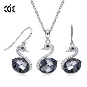 Mode-S925 Argent Set de bijoux avec Element Cristal Swarovski Collier Swan Ongles oreille