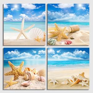 4 Шт. / Компл. Wall Art Современная Печать Холст Картины Морской Пляж Shell Starfish Настенные Панно Для Домашнего Декора Безрамное
