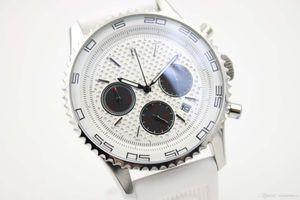 Sıcak Satış İsviçre Marka Saatler Kuvars Chronograph Beyaz Seramik Çerçeve Çelik Special Edition Erkek Cassic Saatler Kauçuk Kayış