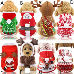 Собака Санта костюмы Рождество пальто смешные партии праздничные украшения одежда для домашних животных толстовки щенок кошки A03