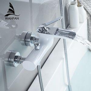 Home Improvement Bathtub Faucets Chrome Bath Set White Shower Set Bathtub Mixer Tap Dual Contral Shower Wall Mounted For Bathroom WF-6018