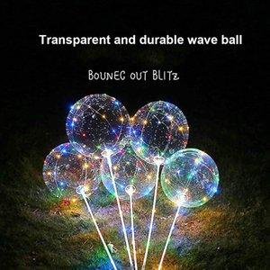 배터리와 LED 풍선 빛 낭만적 인 보보 볼 웨이브 웨딩 파티 X-MS hollween 장식을위한 4 색