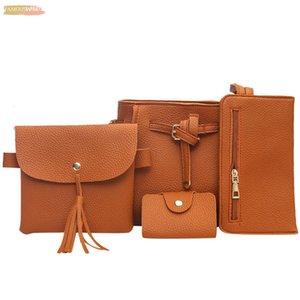 4 Pcs Sets Women Bags Pu Leather Handbag Fashion Tassels Leather Shoulder Bag Crossbody Bag Clutch Ladies Purse Bags