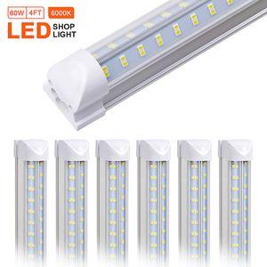4-25PCS T8 LED Магазин светильник, 4ft 60W, 30W, 2ft Clear крышка объектива, двойная бортовая 4 ряда V Форма Встроенная лампа лампы, LED Cooler свет двери