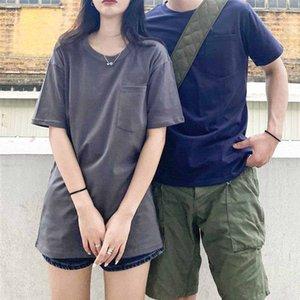 Pamuk Tişörtlü moda yüksek kaliteli çift kısa kollu yaz yeni beyaz asker yeşili eğilim kısa t shirt