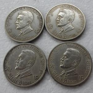 독일 기념 주화 1941 -1944 alirplane 4 개 동전에게 실버 도금 황동 공예 장식품 복사
