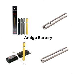 Батарея Amigo Max с зарядным устройством USB Аккумулятор 380 мАч Емкость Черный Серебристый Пистолет Золотого цвета для смарт-тележек Dank Vapes