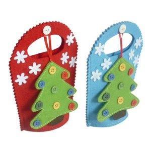 Modelo del árbol de navidad de regalo del sostenedor bolsas de dulces Con ButtonWhite copo de nieve decoración reutilizable Bolsas decoraciones al aire libre AB