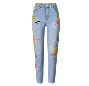 Women Birdie Flower Front And Back Side Embroidered Harajuku High Waist Straight Irregularly Worn Jeans