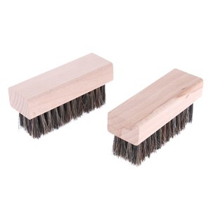 2 Pieces Professional Horsehair Bristles Shoes Clean Brushes for Boots Shoes Other Leather Care
