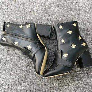 Logo Ve Kutu Lüks Tasarımcı Kadınlar Boots Siyah Deri Orta Buzağı Martin Boots Boyutu 35 42 To Come With