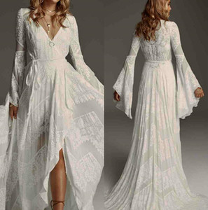 Elegante casamento bohemain Vestidos V Neck Lace vestidos de noiva inchado mangas compridas Boho Praia do vestido de casamento personalizado Plus Size 3920