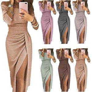 New Stylish Sexy Women Dress Casual Plus Size Club Party Prom Dresses Slash Neck Barato Bodycon Vestido 10 cores A1