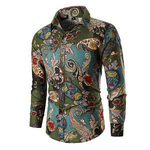 Camisa ocasional de los nuevos hombres de la impresión floral Flores camisas para hombre de los hombres de negocios camisas de vestir con mangas larga