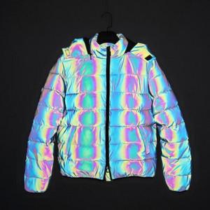 2020 New Men colorful reflective jackets hip hop Cotton jacket colored lover 3M Reflective Jackets Hooded Coat outdoor Winter coat