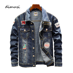 DIMUSI autunno Mens Giacca di jeans alla moda moda denim strappati Jacket Mens Outwear Jeans casuali dimagriscono Cowboy cappotti Abbigliamento