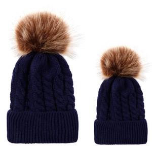 Inverno Parent-Child caps conjunto De Malha De Lã chapéus Unisex Dobras Casual rotulação Gorros Chapéu Cor Sólida Hip-Hop Skullies Gorro gorro