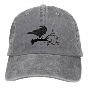 Corvo negro sentado num ramo de algodão a cores puro Cor De Luz Boné De Basebol masculino a coser Chapéu De Pai