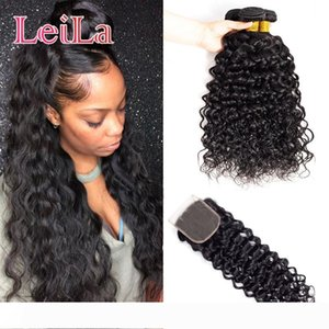 Mongolian 4X4 Lace Closure With 3 Bundles Water Wave Human Hair Extenisons 95-100g piece Water Wave Hair Wefts With Closure Baby Hair