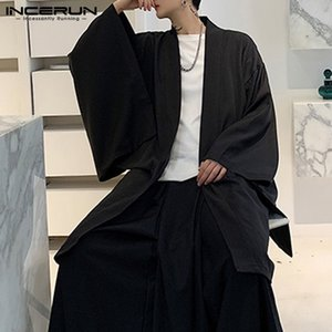 Men Cardigan Open Stitch Loose Long Sleeve Streetwear Trench 2020 Chic Vintage Punk Solid Long Coats Mens Cloak Cape INCERUN 5XL