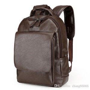 Crazy2019 أكياس الرجال حقيبة رجال الأعمال السوداء حقائب مدرسية جلدية سوداء الذكور الظهر لحقيبة الكمبيوتر المحمول جذاب fvabt