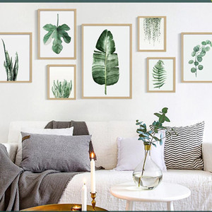 الأخضر الرقمية مصنع الطلاء الحديث مزين صورة مؤطرة لوحة أزياء فنون رسمت فندق صوفا الجدار الديكور رسم DBC DH1496-1