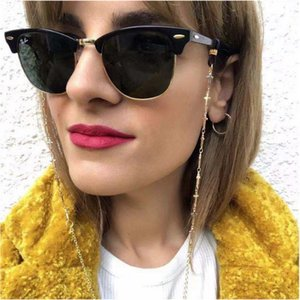 Eyeglasses chain cross contected metal chain gold color plated silicone loops sunglass accessory women gift souvenir shop good