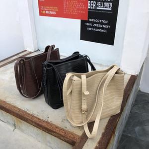 Tasarımcı-Yeni Kore versiyonu kış Yüksek kapasiteli timsah dövme tek omuz çantası