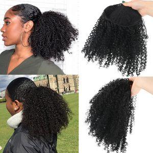 Ombre цвет кулиской Afro Puff Kinky завитые Ponytail Afro коротких синтетических Ponytail Наращивание волос для женщин