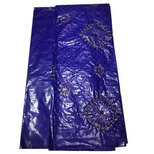 Африканская кружевная ткань Royal Blue Bazin Riche Fabric 2019 Новый дизайн Вышитый базин Riche Getzner с бисером Камень 5 ярдов ba073