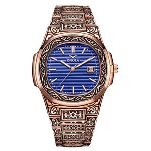 ONOLA tasarımcı kuvars saatler erkekler 2019 benzersiz hediye kol saati su geçirmez moda rahat Vintage altın klasik lüks saat erkekler