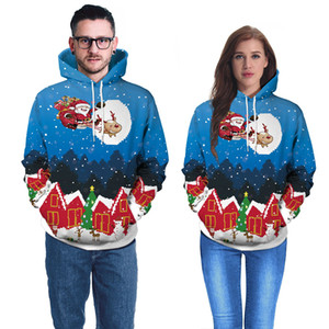 Noel Kapüşonlular Erkekler Kadınlar 3D Noel Baba Geyik Baskı Çift Tişörtü Homme Casual Streewear Hip Hop Hoodie Tops Sweat
