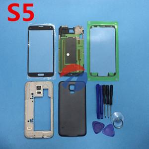 استبدال أجزاء الإسكان حالة الغطاء الكامل لسامسونج غالاكسي S5 SV G900 I9600 + الزجاج الخارجي + ملصقا + أدوات
