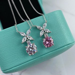 High Fashion Belas 100% S925 Sterling Silver Colar Para Mulheres Crystal Chic Elegância Flor Pingente Cadeia Fine Jewelry