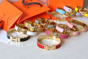 12mm Luxary Cuff Bracelets & Bangles Wristband Enamel Bracelet H Letter Gold Buckle Top quality Bracelets For Women
