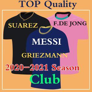 maillot de pé MESSI Soccer Jersey 2021 Football Shirt 20 21 SUAREZ GRIEZMANN DE JONG Clube Homens Qualidade Crianças TOP Camisa De Futebol