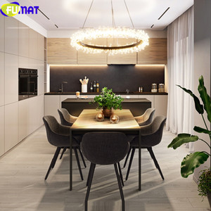FUMAT Meteor Shower Crystal Rings Stailess Steel Staircase Villa Ceiling Lamp LED GU10 Layers Lights Penthouse Lustre Chandelier