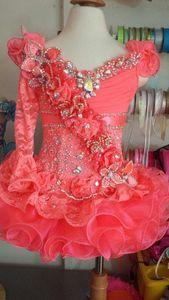 Princess Minal Girl Pageant платье одно плечо кружево кристалл кораллов органза мини короткий с длинным рукавом шарнир маленький дети платья девушки цветов