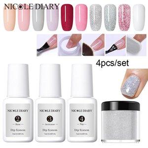 4Pcs / Set Dipping-System Nail Kit Nail Art Dip mit Dip Basis Activator Liquid Gel Farbe Natur trocken ohne Lampe