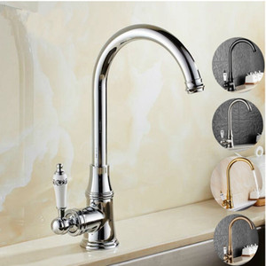 Deck Montado Kitchen Sink Faucet Hot and Cold Water Mixer Tap guindaste Chrome Antique Bronze Terminado cobre escova Nickel